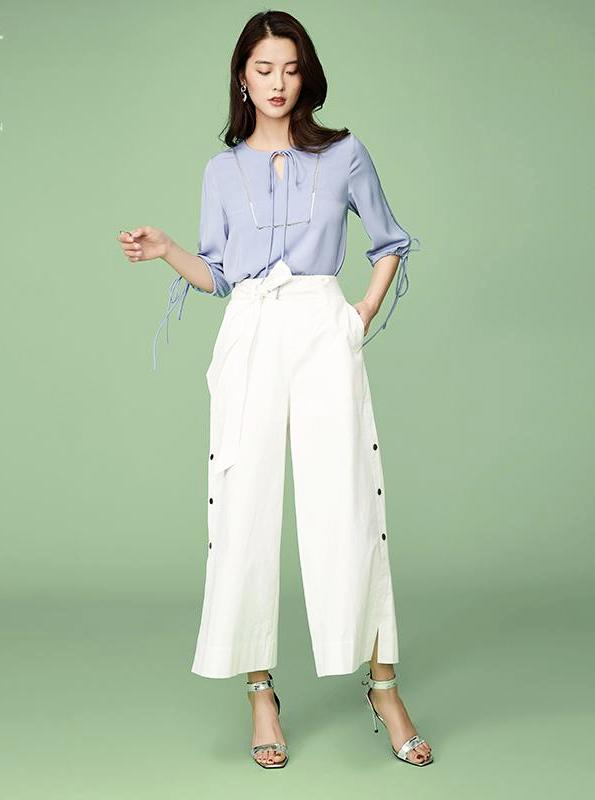 WHITE WIDE LEG BUTTONED UP TROUSER PANTS - impaviid