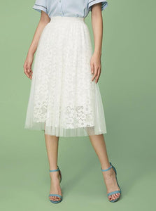 FLORAL LACE DOUBLE LAYERED MESH SKIRT - impaviid