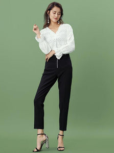 CROPPED BLACK PANTS WITH CORSET-STYLED BELT - impaviid