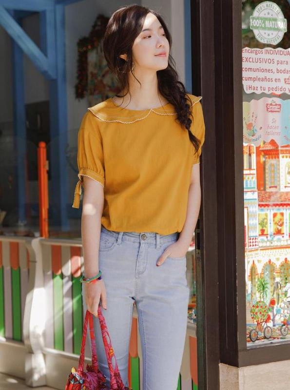 PUFF SLEEVES YELLOW TOP JAPANESE DESIGN - impaviid