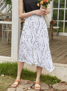 ANKLE-LENGTH GEOMETRIC SUMMER SKIRT KOREAN DESIGN - IMPAVIID