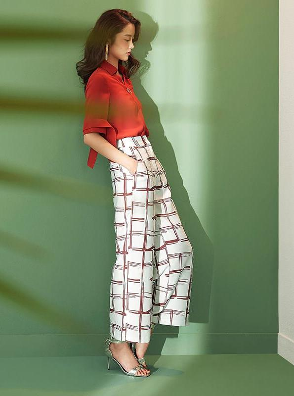 WHITE WIDE LEG PATTERN PANTS - impaviid