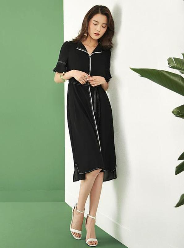 CHIFFON SHIRT DRESS WITH EXPOSED STITCHING - IMPAVIID