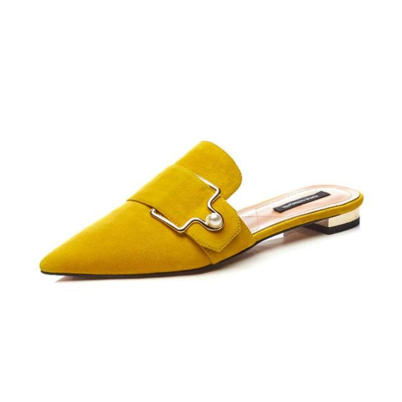 SUEDE YELLOW FLAT MULES VEGAN LEATHER - impaviid