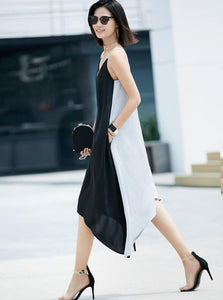 MINIMALISM ASYMMETRIC CONTRAST COLOR BLOCKS SUMMER DRESS - impaviid