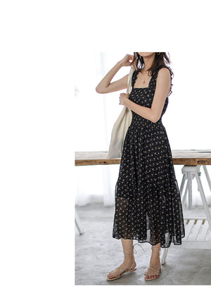 FLORAL PATTERN SUMMER DRESS KOREAN DESIGN - impaviid