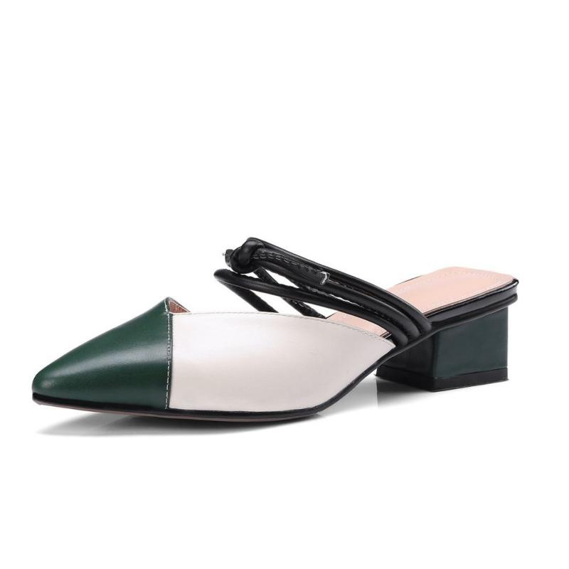 COLOR BLOCK KITTEN HEELS MULES CRUELTY-FREE - IMPAVIID