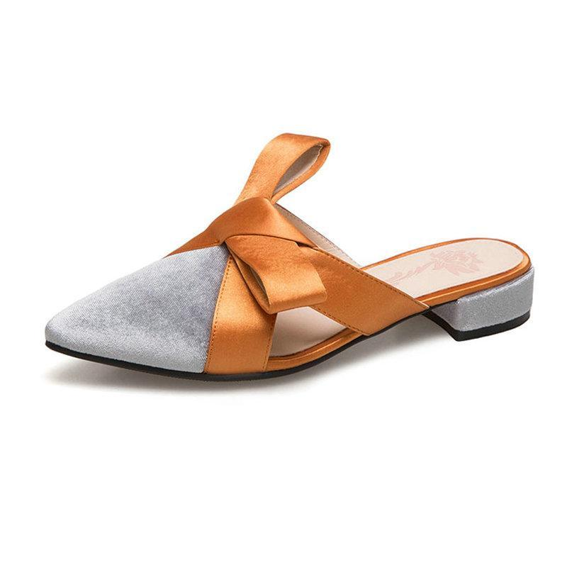SUEDE FRONT BOW FLAT MULES CRUELTY-FREE - impaviid