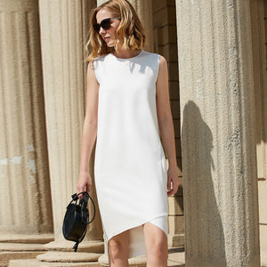 MINIMALISM SIMPLE O-NECK DRESS - impaviid