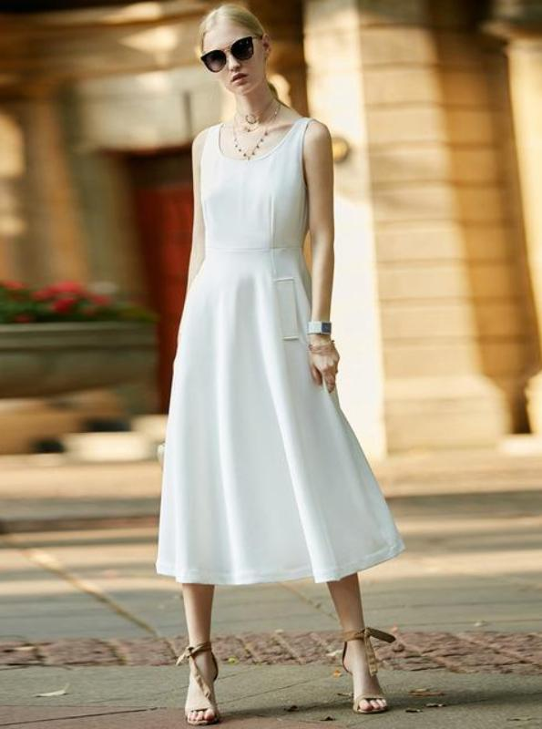 MINIMALISM FORMAL MIDI SUMER DRESS - impazid