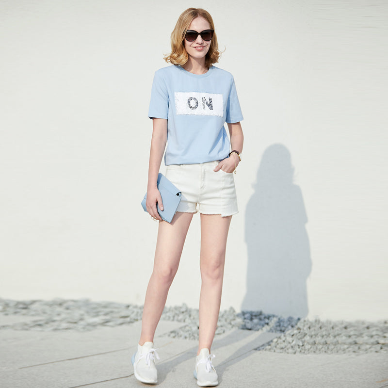 Amii Women Minimalist 2018 Summer T-shirt Appliques O-neck Plus Size Funny T Shirts Female Tee Tops - IMPAVIID