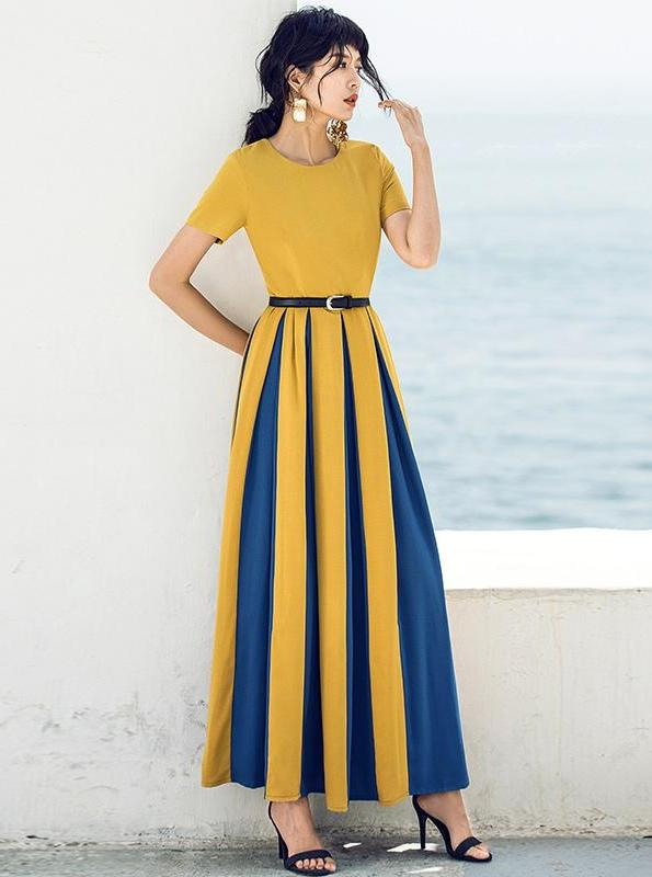 RETRO COLOR-BLOCK MAXI DRESS - impaviid