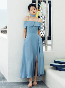 OFF SHOULDER BLUE RETRO MAXI KLEEB - impavaid