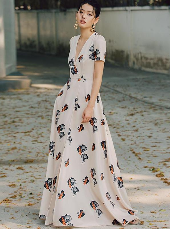 FLORAL PRINTED RETRO MAXI DRESS - impaviid