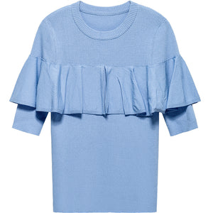 BLUE RUFFLED SHORT SLEEVED KNITTED SWEATER - IMPAVIID