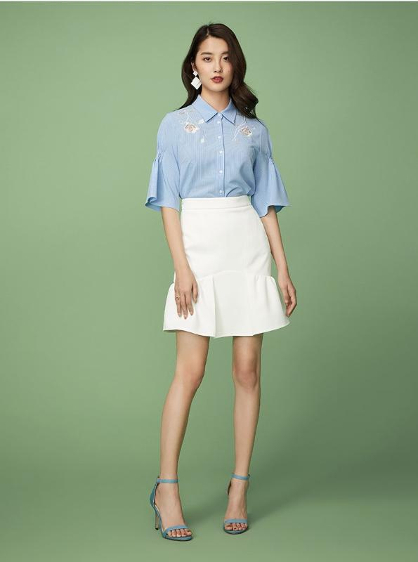 BLUE EMBROIDERED OFFICE SHIRT WITH FLARE SLEEVES - IMPAVIID
