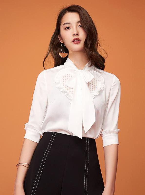 BUSINESS BLOUSE WITH HEART COLLAR - IMPAVIID