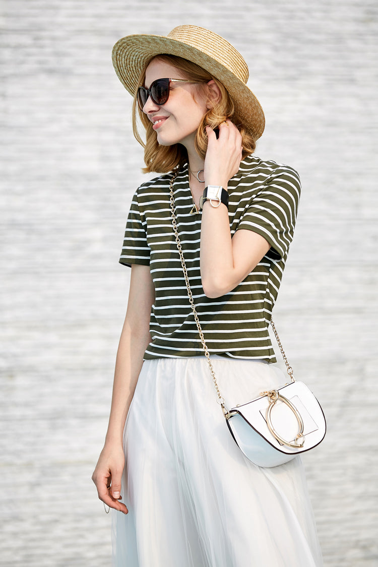 MINIMALISM STRIPED V NECK T-SHIRT - impaviid