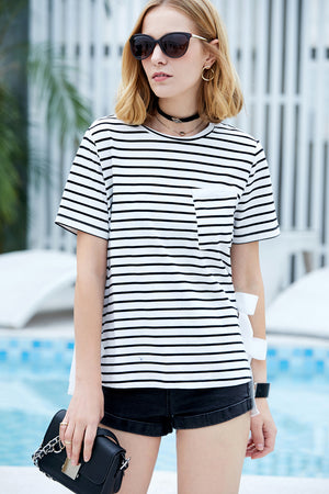 MINIMALISM SUMMER STRIPED T-SHIRT WITH BOWS - impaviid