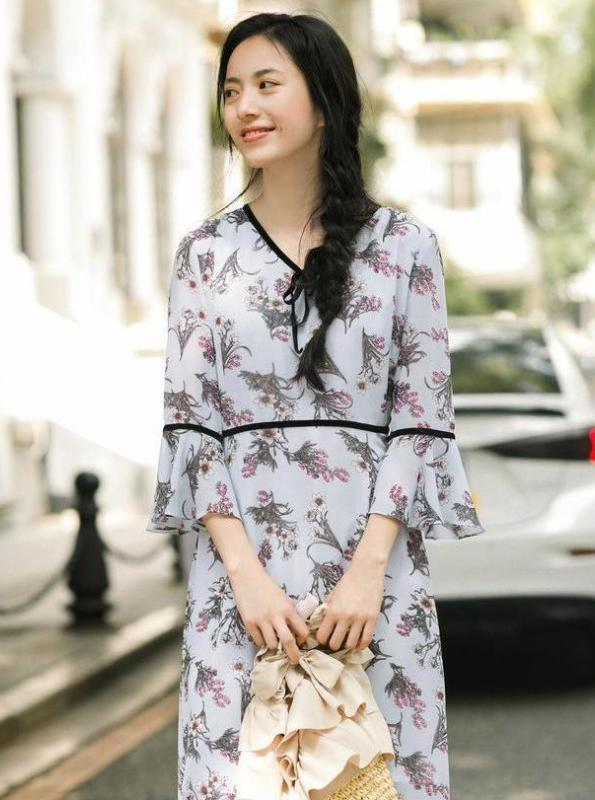 FLORAL CHIFFON MIDI DRESS JAPANESE DESIGN - impaviid