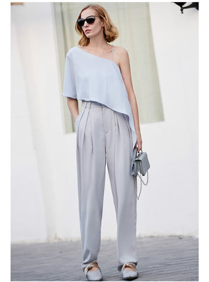 Amii Women Minimalist Wide Leg Pants 2018 Office Lady High Waist Pleated Chiffon Mop with Belt Female Trousers - IMPAVIID