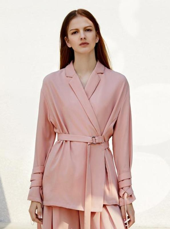 MINIMALISM FORMAL BELTED SLIM BLAZER - impaviid