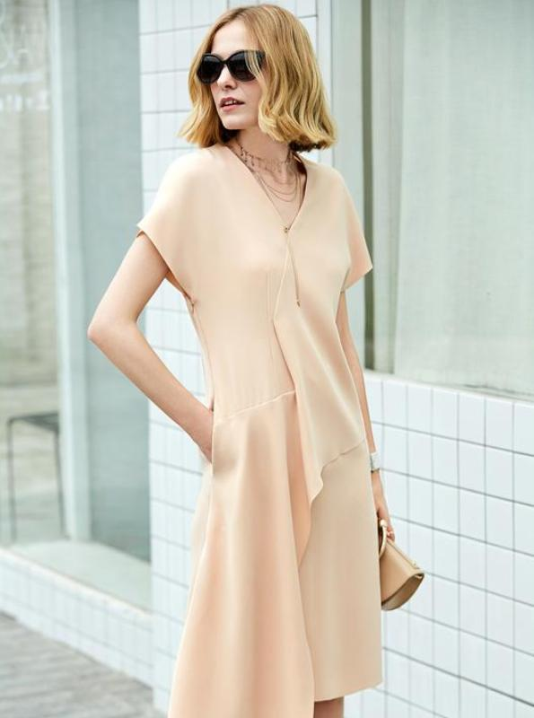 Amii Women Office Lady 2018 Summer Dress Elegant Ruffles V Neck  Female Dresses - IMPAVIID