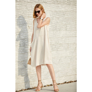MINIMALISM CASUAL SATIN MIDI DRESS - impaviid