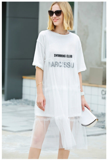 MINIMALISM T-SHIRT STYLED MESH MIDI DRESS - непромокайний одяг