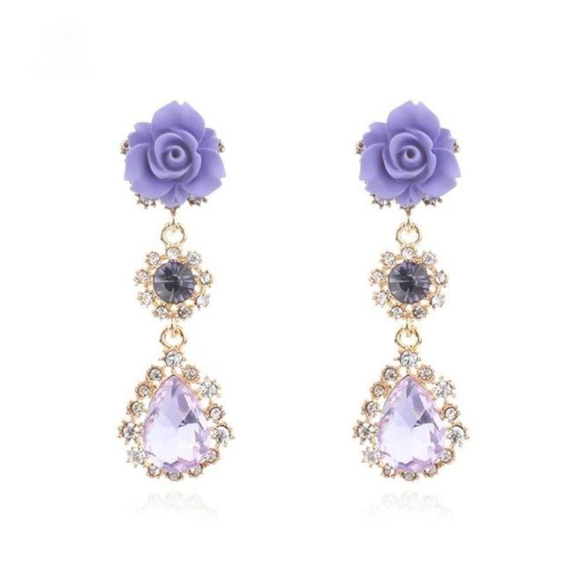 ROSE & CRYSTAL DROP EARRINGS - impaviid