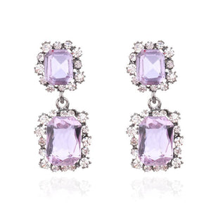 LILAC SQUARE CRYSTAL EARRINGS - impaviid