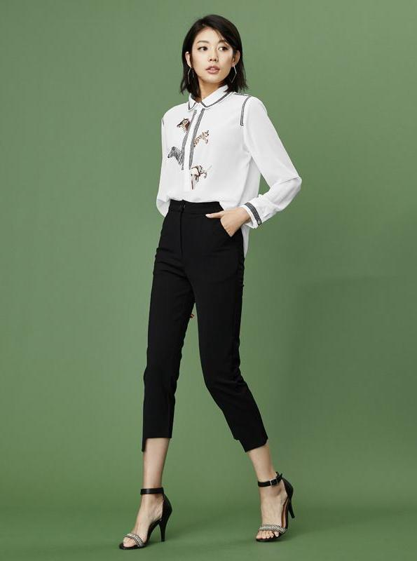 ASYMMETRIC CUT CROPPED FORMAL PANTS - IMPAVIID