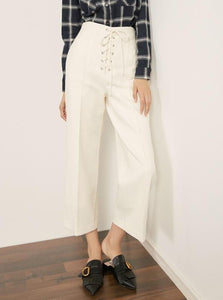 WARM WOOLEN CROPPED WIDE LEG PANTS WITH LACED UP WAIST