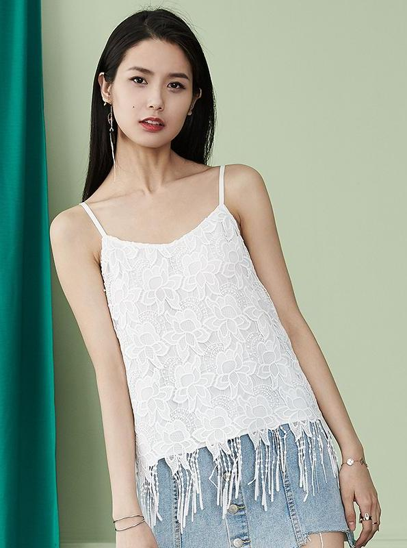 LACE & TASSEL WHITE SUMMER CAMI TOP - impaviid
