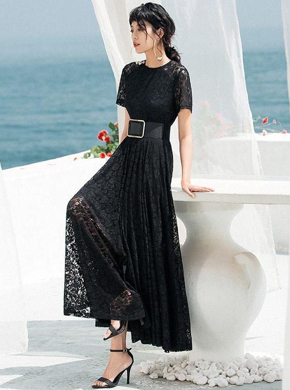 VINTAGE BLACK LACE LAYERED MAXI DRESS