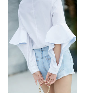 Amii Minimalist Women 2018 Summer Blouse High Street Stylish Ruffles Latern Sleeve Female Blouses Shirts - IMPAVIID
