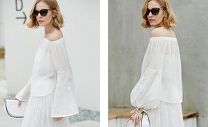 Amii Minimalist Women 2018 New Blouse Stylish Off Shoulder Flare Sleeve  Female Blouses Shirts - IMPAVIID