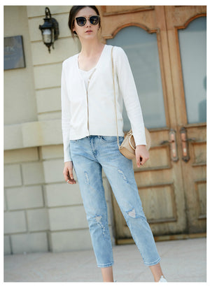 Amii Minimalist Women Cardigan 2018 Office Lady Contrast Color V Neck Knitted  Female Knit Cardigan Sweaters Jacket - IMPAVIID