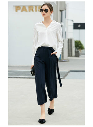 Amii Minimalist Women 2018 Office Lady Blouse Plus Size Stylish V Neck Long Back Short Fron Female Blouses Shirts - IMPAVIID