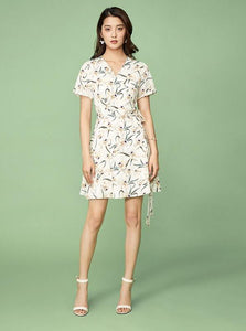 FAUX WRAPPED FLORAL DRESS - impazid