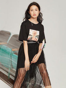 CASUAL BLACK T-SHIRT AND MESH SKIRT SET - IMPAVIID