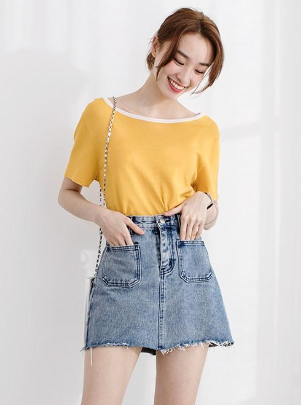 HIGH WAISTED MINI IRREGULAR DENIM SKIRT KOREAN DESIGN - impaviid