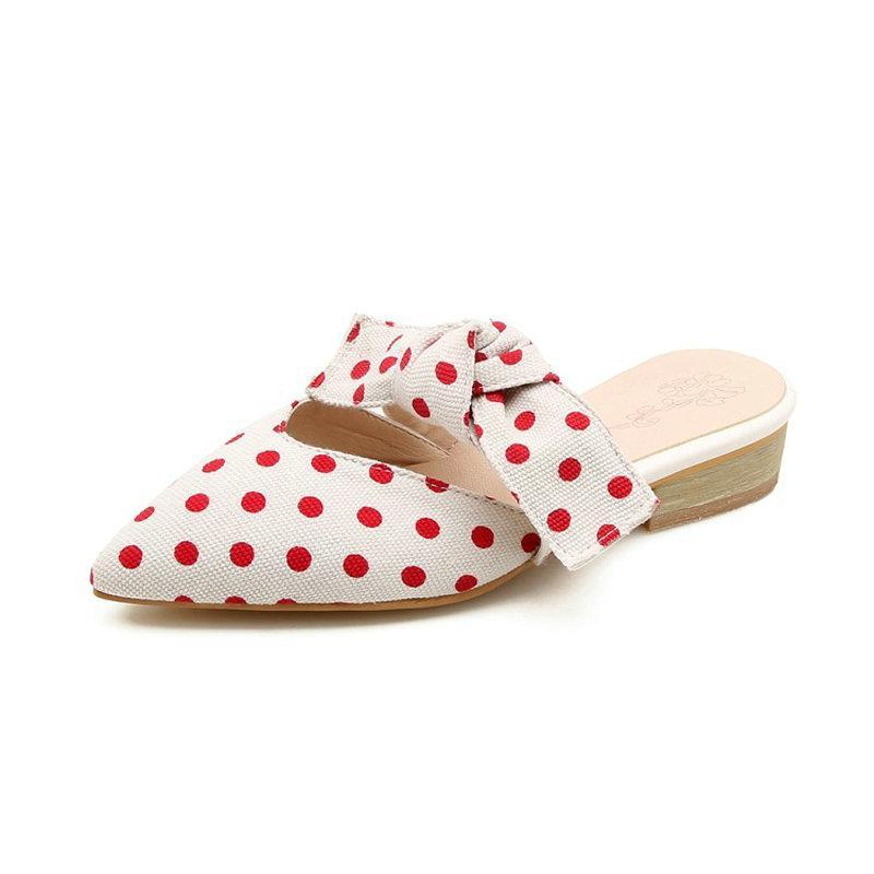 POLKA DOT FRONT BOW FLAT MULES CRUELTY-FREE - impaviid