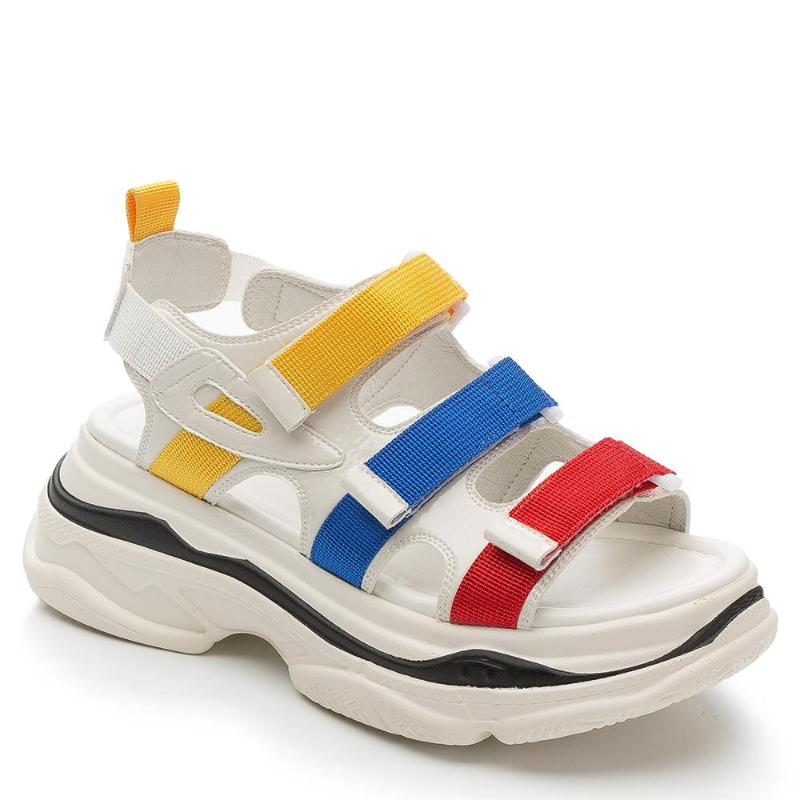 TRIPPPLE COLOR SNEAKER STYLED WEDGED SANDALS - impaviid