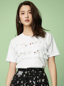 RUFFLED EXBELLISHED WHITE CASUAL TOP - непридатний