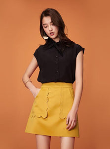 YELLOW SCALLOP CUT OUT MINI SKIRT - impaviid