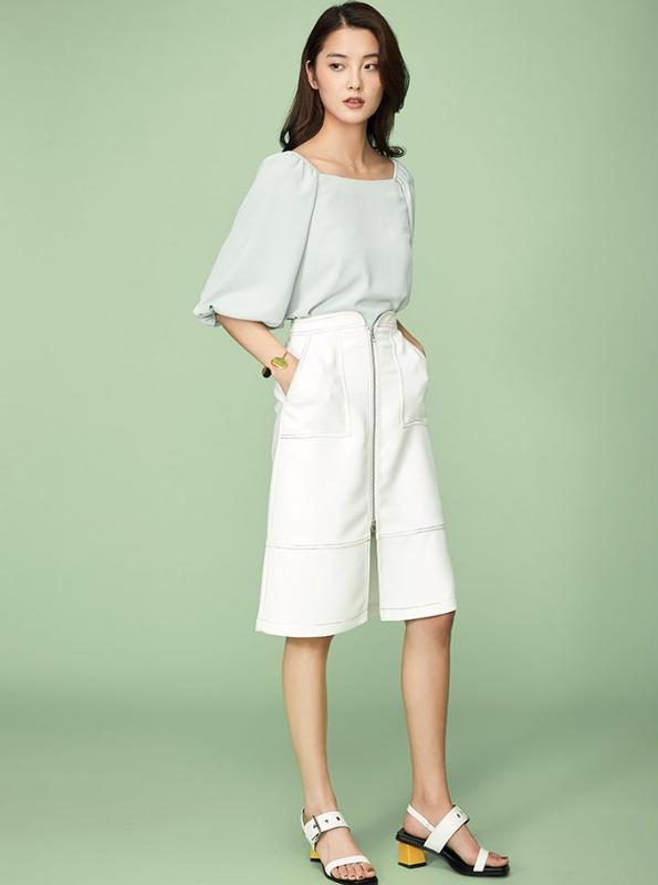 EXPOSED STITCHING MIDI FRONT ZIPPER WHITE SKIRT - impaviid