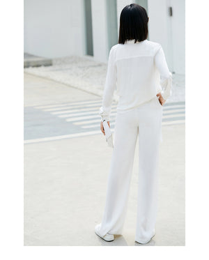 Amii Minimalist Women 2018 Autumn Blouse Chic Office Lady V Neck Asymmetric Female Blouses Shirts - IMPAVIID