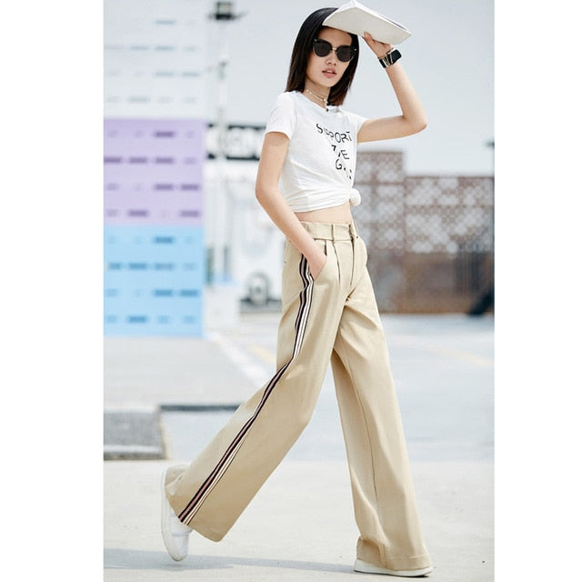 MINIMALISM WIDE LEG STRIPED PANTS