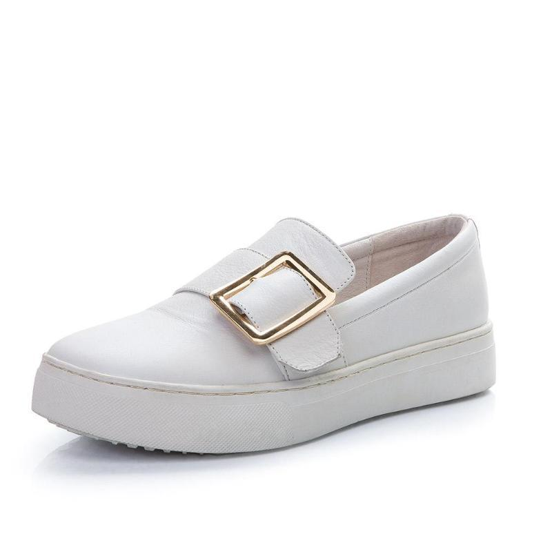 WHITE FLATS ON A PLATFORM WITH A BUCKLE CRUELTY-FREE - impaviid